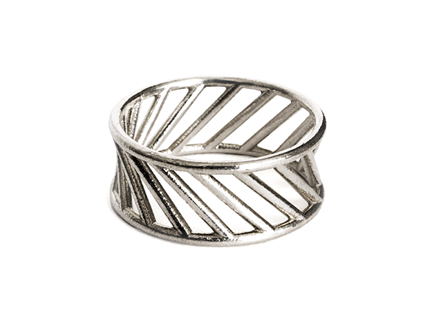 Hyperboloid Ring in Natural Silver: 10 / 61.5