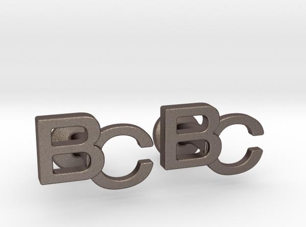 Monogram Cufflinks BC in Polished Bronzed Silver Steel