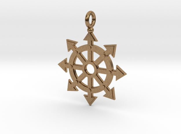 Chaos star wheel pendant in Natural Brass