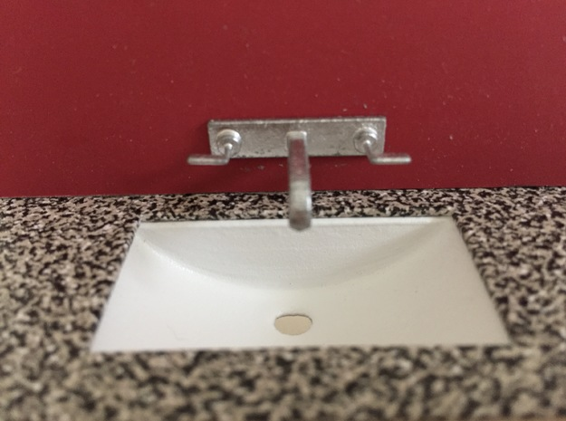 Bathroom sink, under-counter, 1:12 in White Processed Versatile Plastic