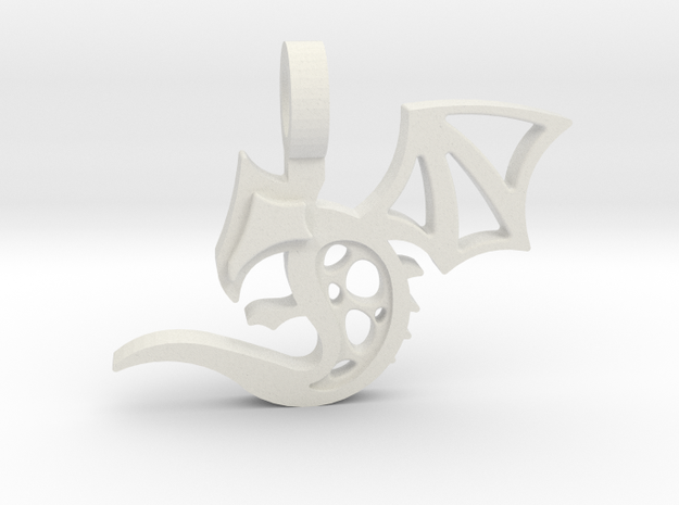 Baby Dragon Pendant in White Natural Versatile Plastic