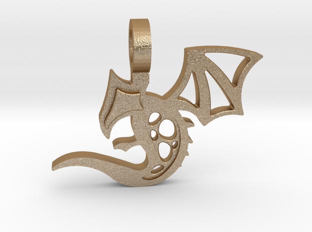 Baby Dragon Pendant in Matte Gold Steel
