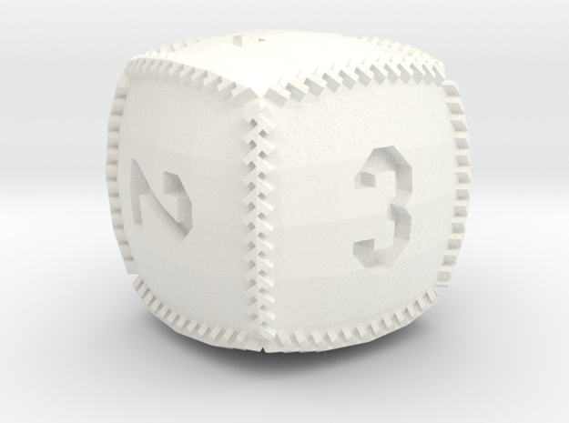 Baseball D6 in White Strong & Flexible Polished