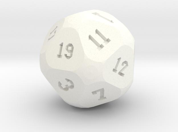 Soccer D20 in White Processed Versatile Plastic