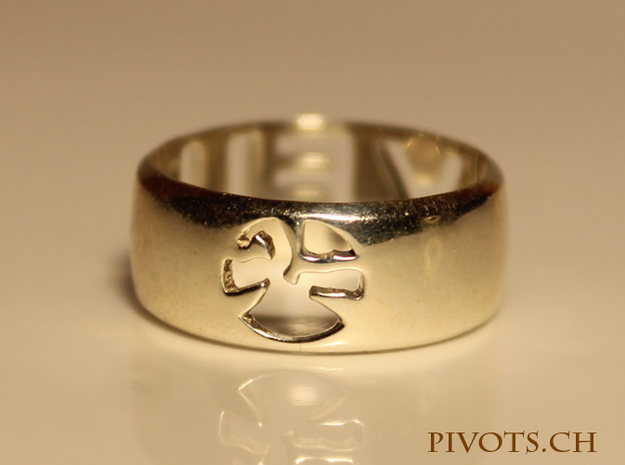 YFU Ring Cut Out 3d printed Polished Silver