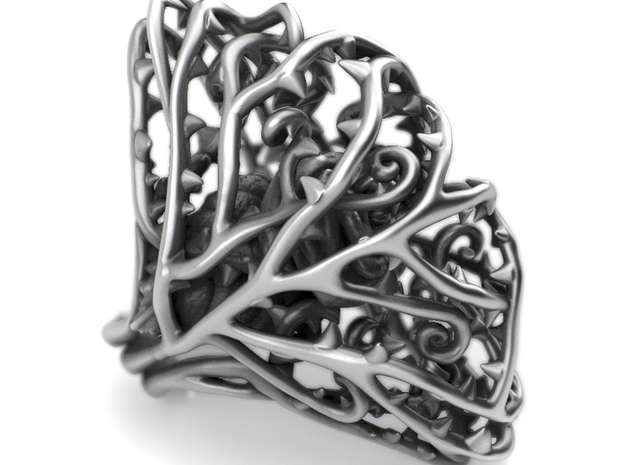 Ring Dangerous - Rose wrapped Precious Metal in Polished Silver: 7 / 54
