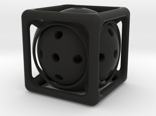 Ball-in-Cube  in Black Natural Versatile Plastic