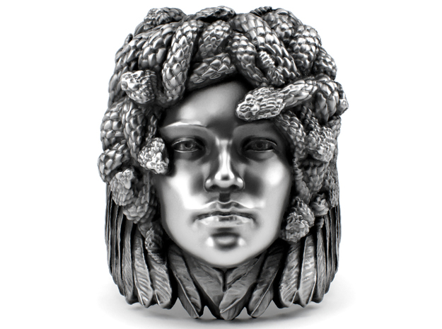 Medusa - Detailed ring in Polished Silver: 7 / 54