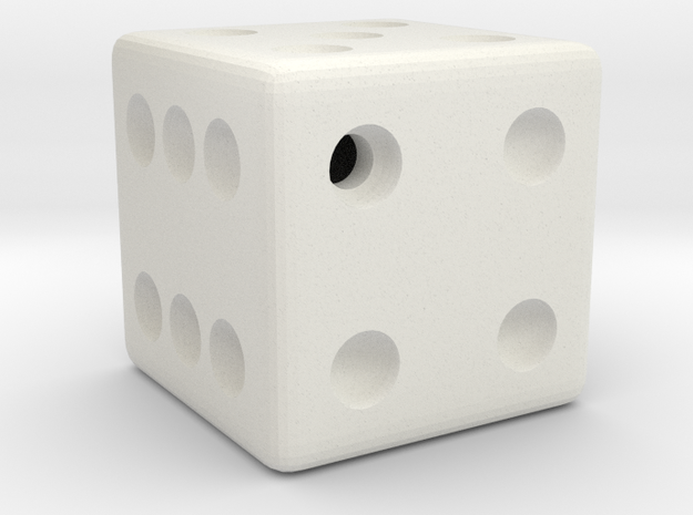 Weighted Dice (Favors a Roll of 4) in White Natural Versatile Plastic