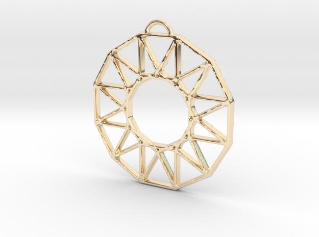 Stylized Sun Modern Pendant Charm in 14k Gold Plated Brass