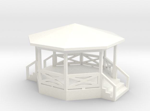 Bandstand/Gazebo - 16-foot N-scale in White Strong & Flexible Polished