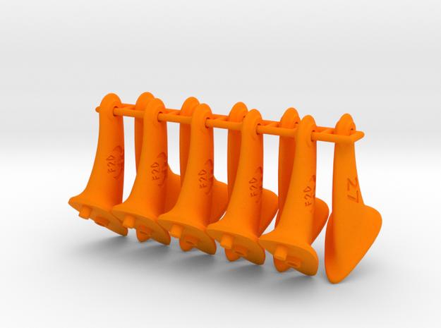 10 pcs. 27mm F2D control horn - 2nd gen in Orange Strong & Flexible Polished