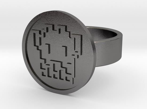 8 Bit Alien Ring in Polished Nickel Steel: 10 / 61.5