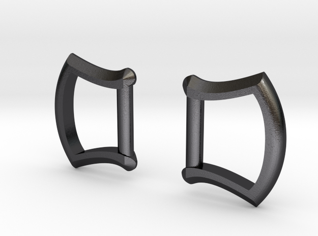 "1/2"" Buckle Frames / D-rings (pair) in Polished and Bronzed Black Steel"