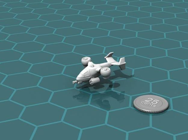 Terran Ground Attack VTOL 3d printed Render of the model, with a virtual quarter for scale.