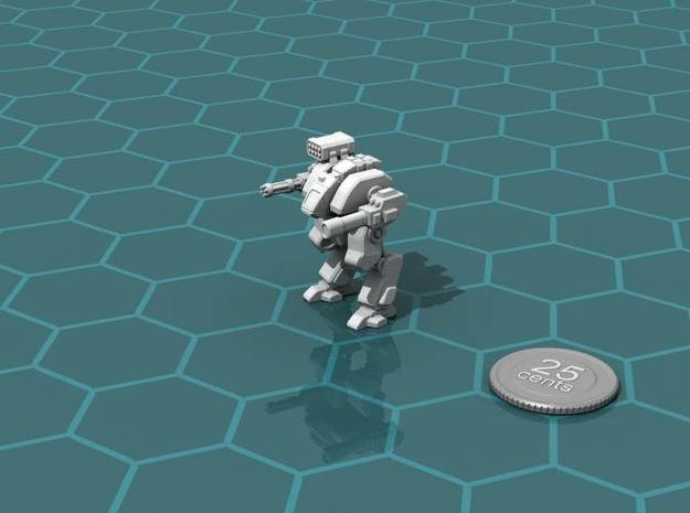 Terran Assault Walker 3d printed Render of the model, with a virtual quarter for scale.