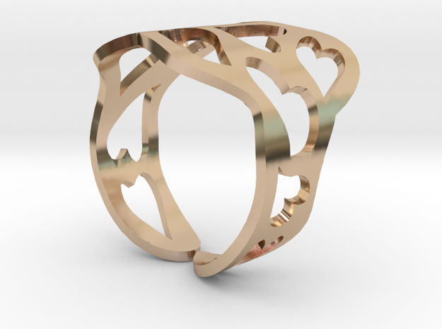 Ring of hearts  in 14k Rose Gold Plated Brass