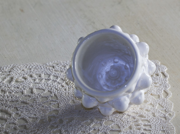 Mandelbulb Espresso Cup - Hardcore version 3d printed The top at the bottom