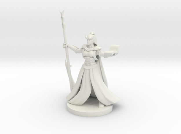 Tiefling  Female Wizard in White Natural Versatile Plastic