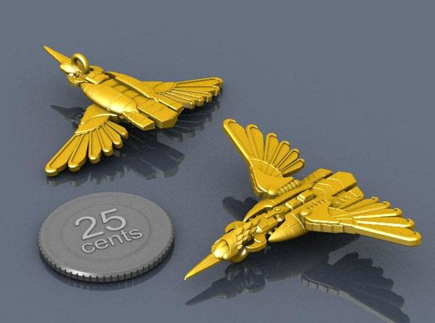 Kingfisher 3d printed Renders of the piece with a virtual quarter for scale.