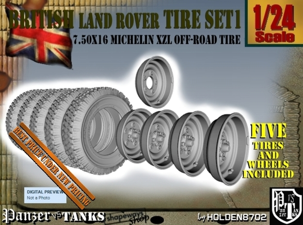 1-24 Land Rover 750x16 Tires And Wheels Set1 in Frosted Ultra Detail