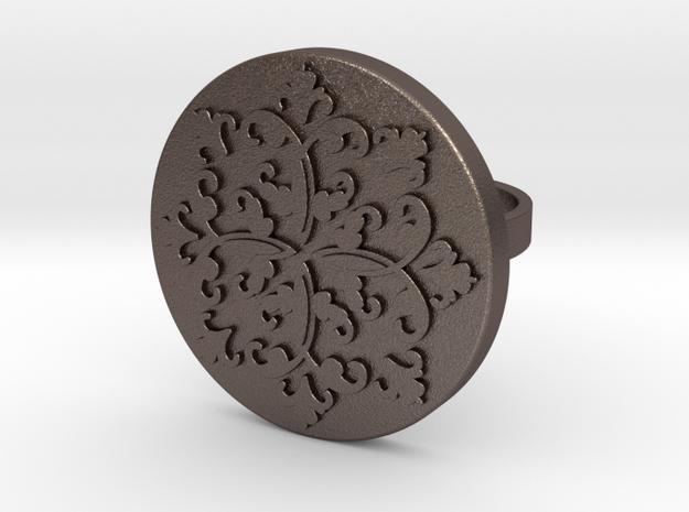 L.A. Ring-Sigrid in Polished Bronzed Silver Steel: Medium