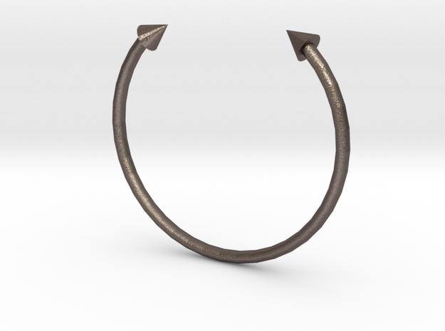 Arrow Cuff - XS in Polished Bronzed Silver Steel