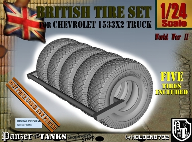 1-24 Chevy LRDG Tire Set1 in Black Strong & Flexible