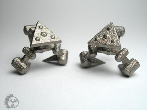 Tribot Cufflinks 3d printed Stainless Steel - Back View