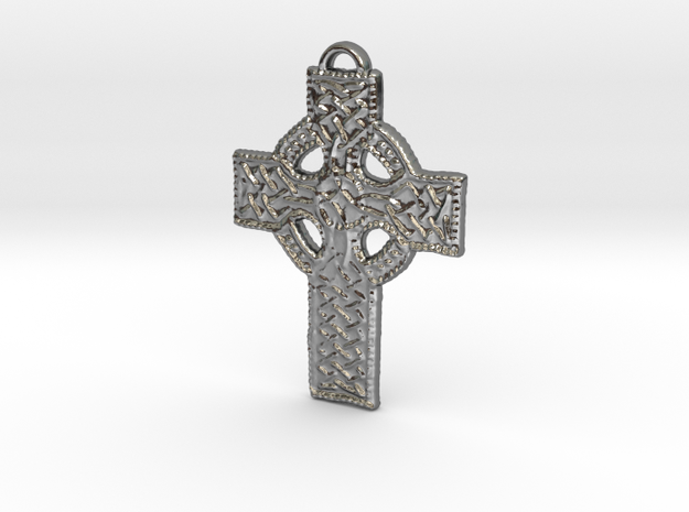 Roped Celtic Cross in Polished Silver: Large