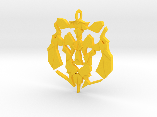Lion Pendant in Yellow Processed Versatile Plastic