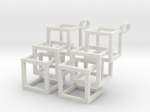 3 Cube in White Natural Versatile Plastic