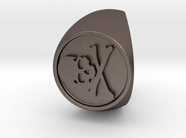 Custom Signet Ring 50 in Polished Bronzed Silver Steel