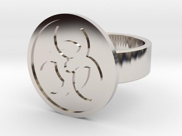 Biohazard Ring in Rhodium Plated: 10 / 61.5