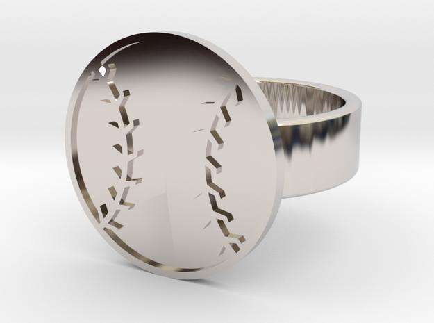 Baseball Ring in Rhodium Plated: 10 / 61.5