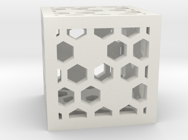 Honeycomb D6 in White Natural Versatile Plastic