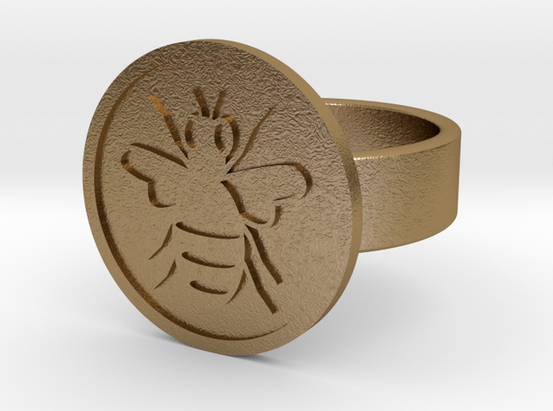 Bee Ring in Polished Gold Steel: 10 / 61.5