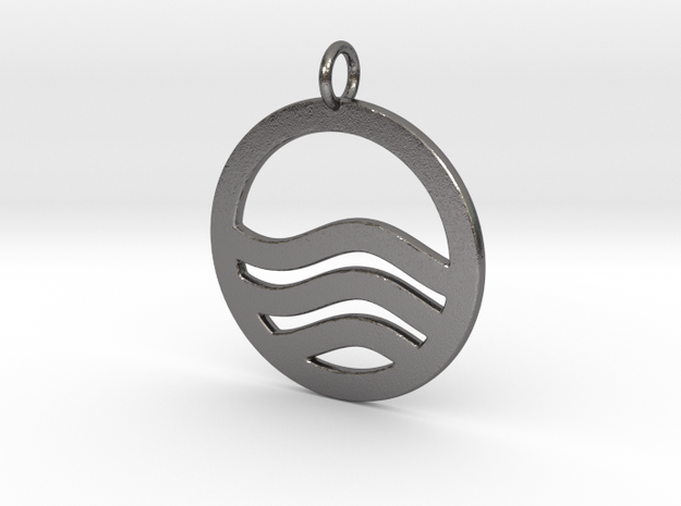 Sea Ocean Waves Symbol Pendant Charm in Polished Nickel Steel