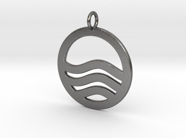 Sea Ocean Waves Symbol Pendant Charm in Polished Nickel Steel