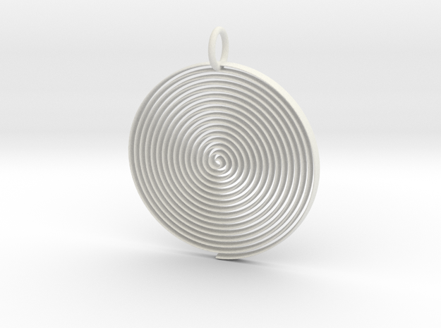 Minimalist Spiral Pendant in White Natural Versatile Plastic