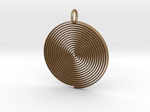Minimalist Spiral Pendant in Matte Gold Steel