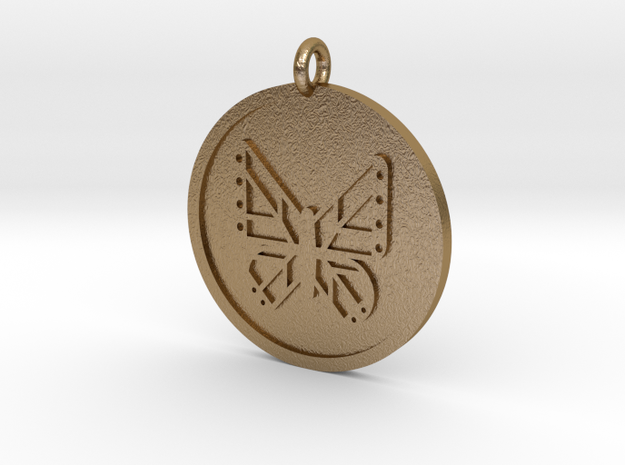 Butterfly Pendant in Polished Gold Steel