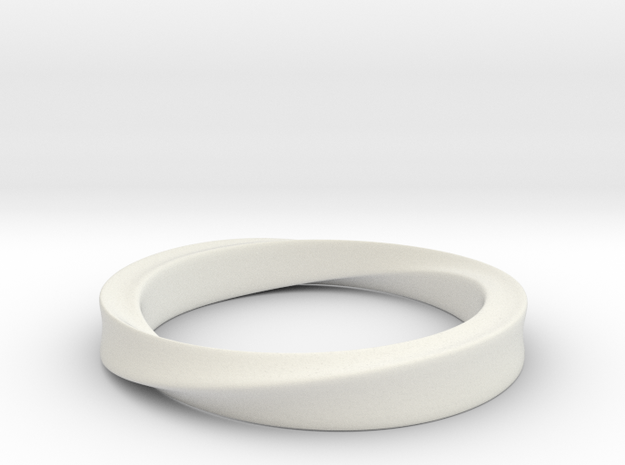 Möbius Ring in White Natural Versatile Plastic: 4 / 46.5