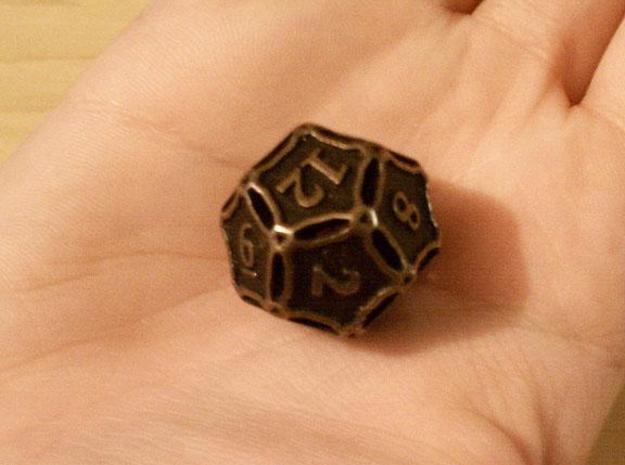 Large Die12 3d printed In antique bronze glossy and inked.