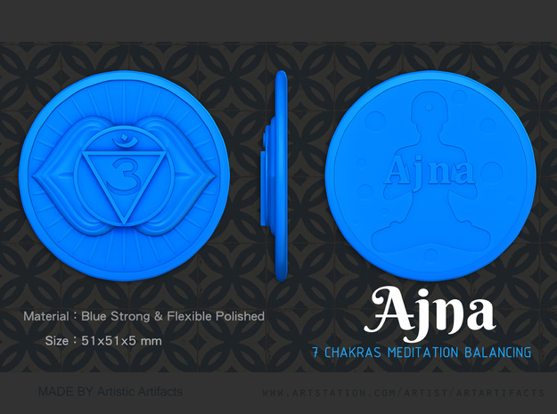 Third Eye chakra or Ajna in Blue Processed Versatile Plastic