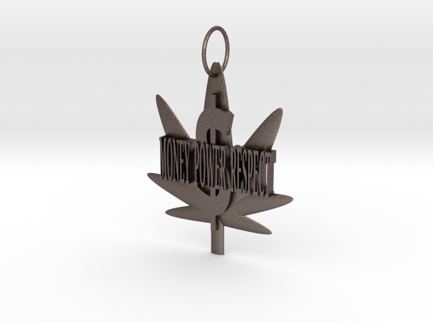 Money Power Respect Weed Pendant in Stainless Steel