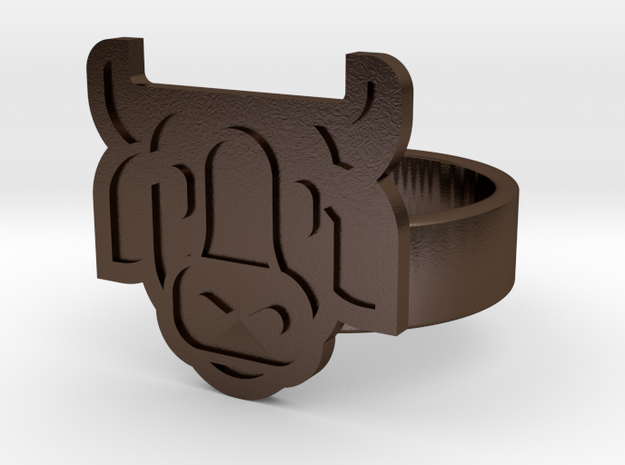 Cow Ring in Polished Bronze Steel: 10 / 61.5