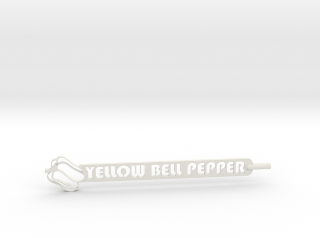 Yellow Bell Pepper Plant Stake in White Strong & Flexible