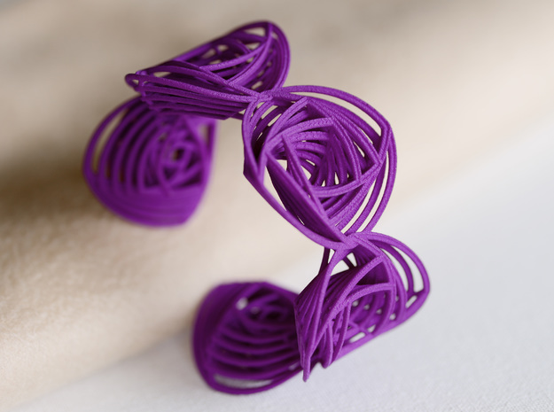 Rose Stripes Bracelet in Purple Processed Versatile Plastic