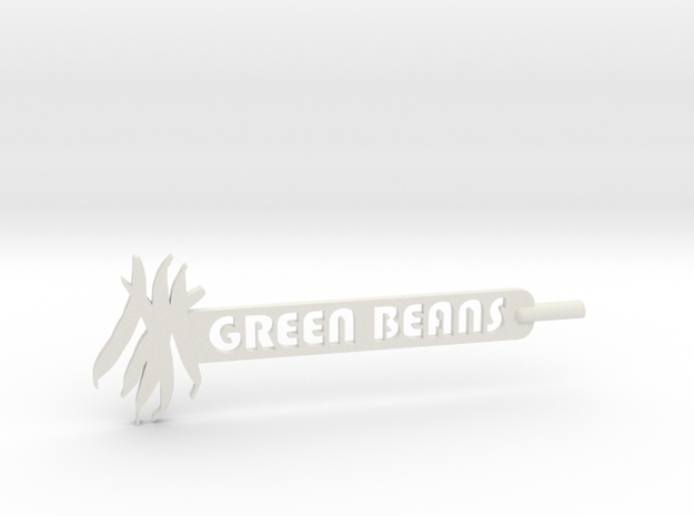 Green Beans Plant Stake in White Natural Versatile Plastic